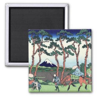 東海道保土ケ谷, 北斎 View Mt.Fuji from Hodogaya, Hokusai Square Magnet