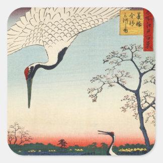 江戸の鶴, 広重 Crane of Edo, Hiroshige Square Sticker