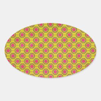 1161_geometric-05 GREENISH YELLOW   CLOUDY ABSTRAC Oval Sticker