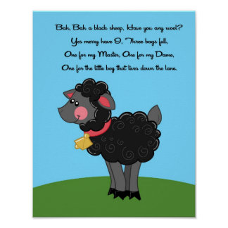 11x14 Bah Bah Black Sheep Rhyme Kids Room Wall Art Poster