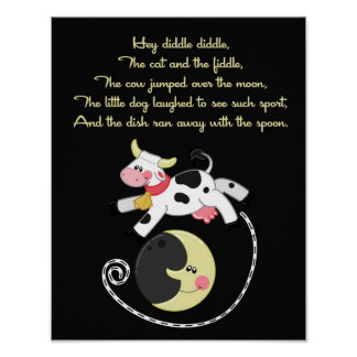 11x14 Hey Diddle Diddle Rhyme Kids Room Wall Art Poster