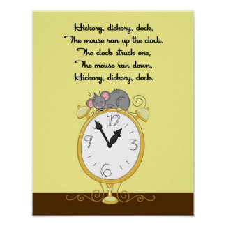 11x14 Hickory Dickor Dock Rhyme Kids Room Wall Art Poster