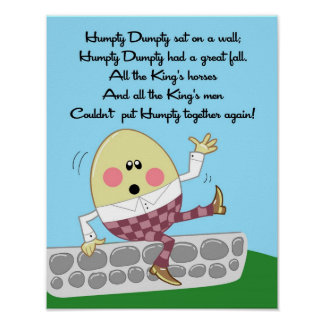 11x14 Humpty Dumpty Rhyme Kids Room Wall Art Poster