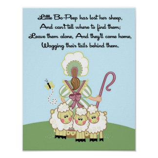 11x14 Little Bo Peep Shee Rhyme Kids Room Wall Art Poster