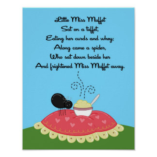 11x14 Little Miss Muffet Rhyme Kids Room Wall Art Poster