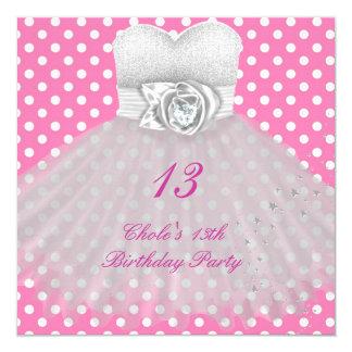 13th Birthday Party Girls 13 Teen 13 Cm X 13 Cm Square Invitation Card