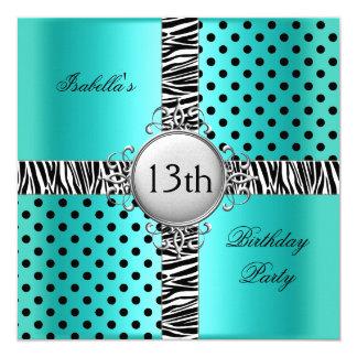 13th Teen Birthday Party Teal Blue Black Zebra 13 Cm X 13 Cm Square Invitation Card
