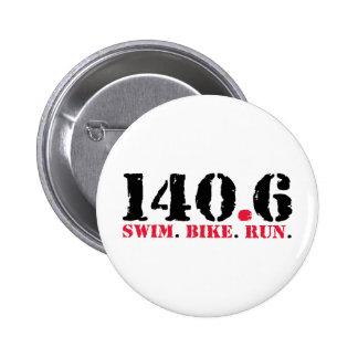 140.6 Swim Bike Run 6 Cm Round Badge