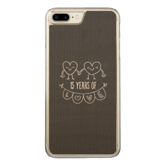 15th Anniversary Chalk Hearts Carved iPhone 7 Plus Case