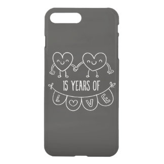 15th Anniversary Gift Chalk Hearts iPhone 7 Plus Case