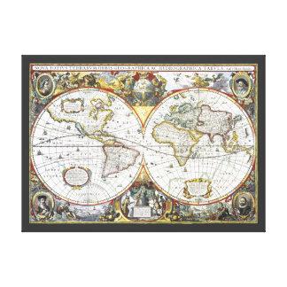 17th Century Antique World Map, Hendrik Hondius Canvas Print