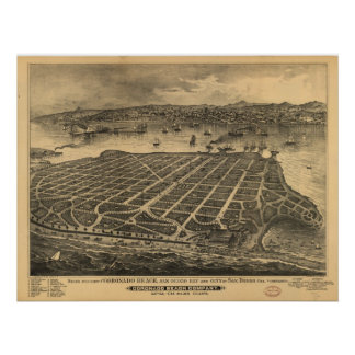 1880's San Diego CA Birds Eye View Panoramic Map Poster