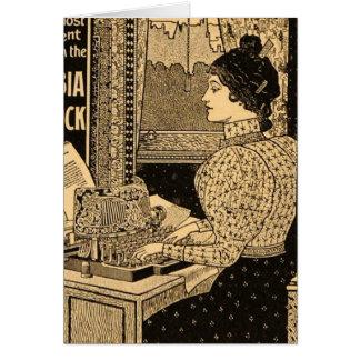 1890's Secretary at Typewriter Greeting Card