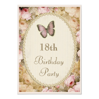 18th Birthday Vintage Roses Butterfly, Music Notes 13 Cm X 18 Cm Invitation Card