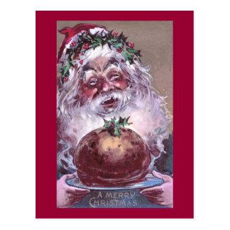 1908 Santa with Plum Pudding Vintage Christmas Postcard