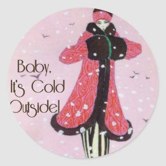 1913 Art Deco Winter Fashion Scene Round Sticker