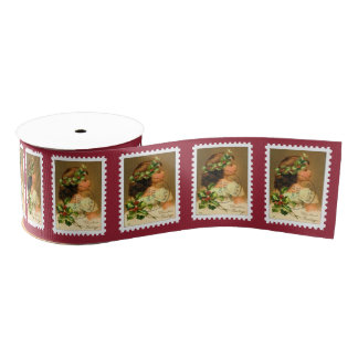 1921 Cancelled Christmas Stamp Grosgrain Ribbon
