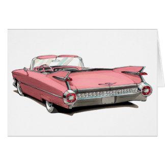 1959 Cadillac Pink Car Greeting Card