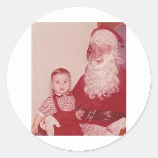 1960's Little Boy and Santa Round Sticker