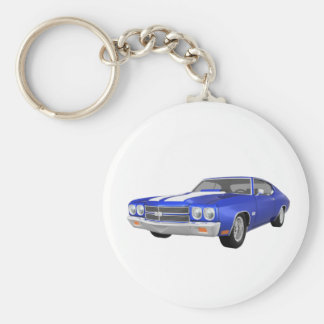 1970 Chevelle SS: Blue Finish: Basic Round Button Key Ring