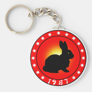 1987 Year of the Rabbit Basic Round Button Key Ring