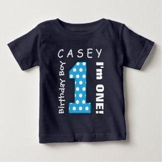 1st Birthday Boy One Year Blue Polka Dots V01G Tee Shirts