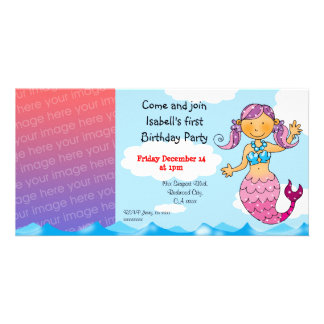 1st birthday mermaid girl party personalized picture card
