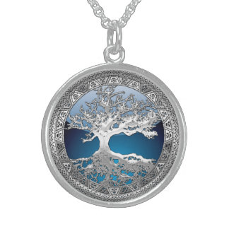 [200] Celtic Tree of Life [Silver] Round Pendant Necklace