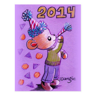 2014 New Years Teddy Bear Postcard