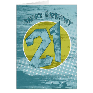 21St Birthday Card - Modern Grunge Birthday Card