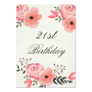 21st Birthday Chic Watercolor Flowers 13 Cm X 18 Cm Invitation Card