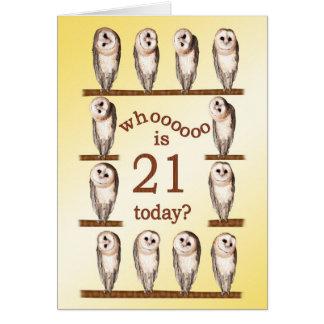 21st birthday, Curious owls card. Greeting Card