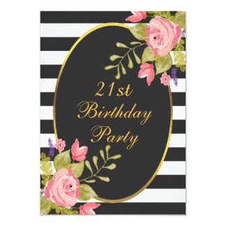 21st Birthday Floral Black White Stripes Gold Foil 13 Cm X 18 Cm Invitation Card