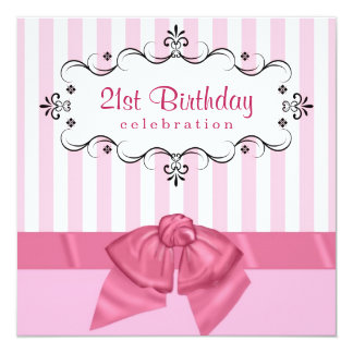 21st Birthday Party Invitations - Pink & White