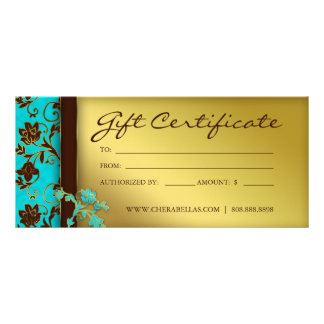 232 Gift Certificates Salon Spa Gold Floral Full Colour Rack Card