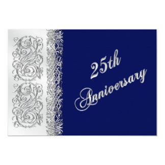 25th Anniversary Ornate Silver Scrolls with Navy 13 Cm X 18 Cm Invitation Card