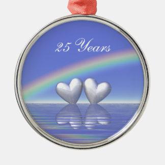 25th Anniversary Silver Hearts Silver-Colored Round Decoration