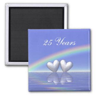 25th Anniversary Silver Hearts Square Magnet
