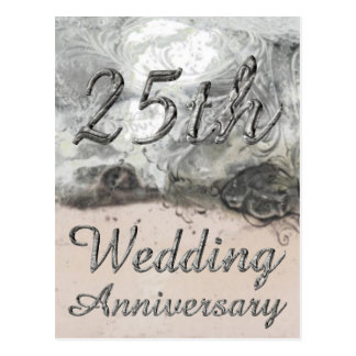 25th Wedding Anniversary Chic Silver Typography Postcard