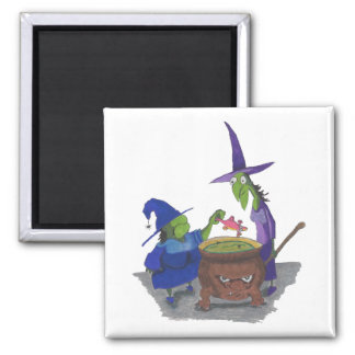 2 Witches brewing up potion in Cauldron Halloween Square Magnet