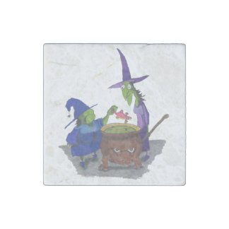 2 Witches brewing up potion in Cauldron Halloween Stone Magnet