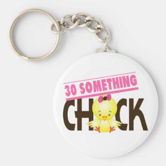 30-Something Chick 1 Basic Round Button Key Ring