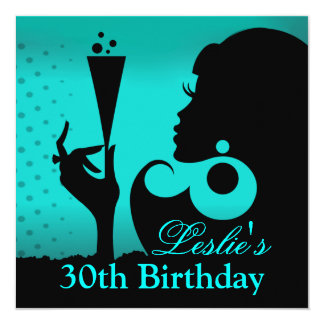 30th Birthday Cocktail Party teal 13 Cm X 13 Cm Square Invitation Card