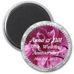 30th, wedding anniversary Pearls & Pink Floral Swi 6 Cm Round Magnet