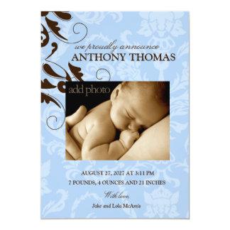 311-Damask Baby Boy 13 Cm X 18 Cm Invitation Card