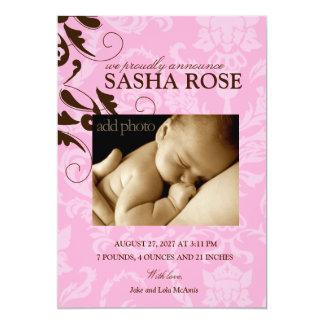 311-Damask Baby Girl 13 Cm X 18 Cm Invitation Card