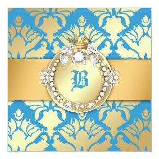 311-Golden Blue Damask Shimmer Queen Baby Shower 13 Cm X 13 Cm Square Invitation Card