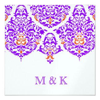 311 Mon Cherie Damask Fabulous Purple Orange 13 Cm X 13 Cm Square Invitation Card