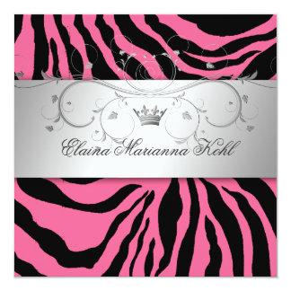 311-Silver Divine Pink Zebra Sweet Sixteen 13 Cm X 13 Cm Square Invitation Card