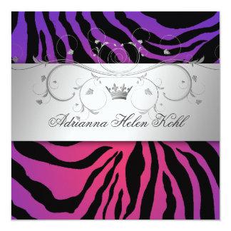 311-Silver Divine Purple Radiance Zebra Lingerie 13 Cm X 13 Cm Square Invitation Card